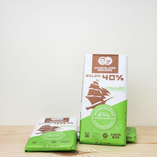 Chocolate Makers Tres Hombres Schokofahrt Tafel 40% + Meersalz 85g